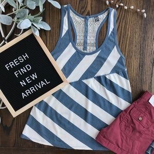 Roxy Blue and White Stripe Racerback Tank